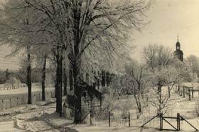 Schloßallee mit Obstgärten im Winter in Rieth