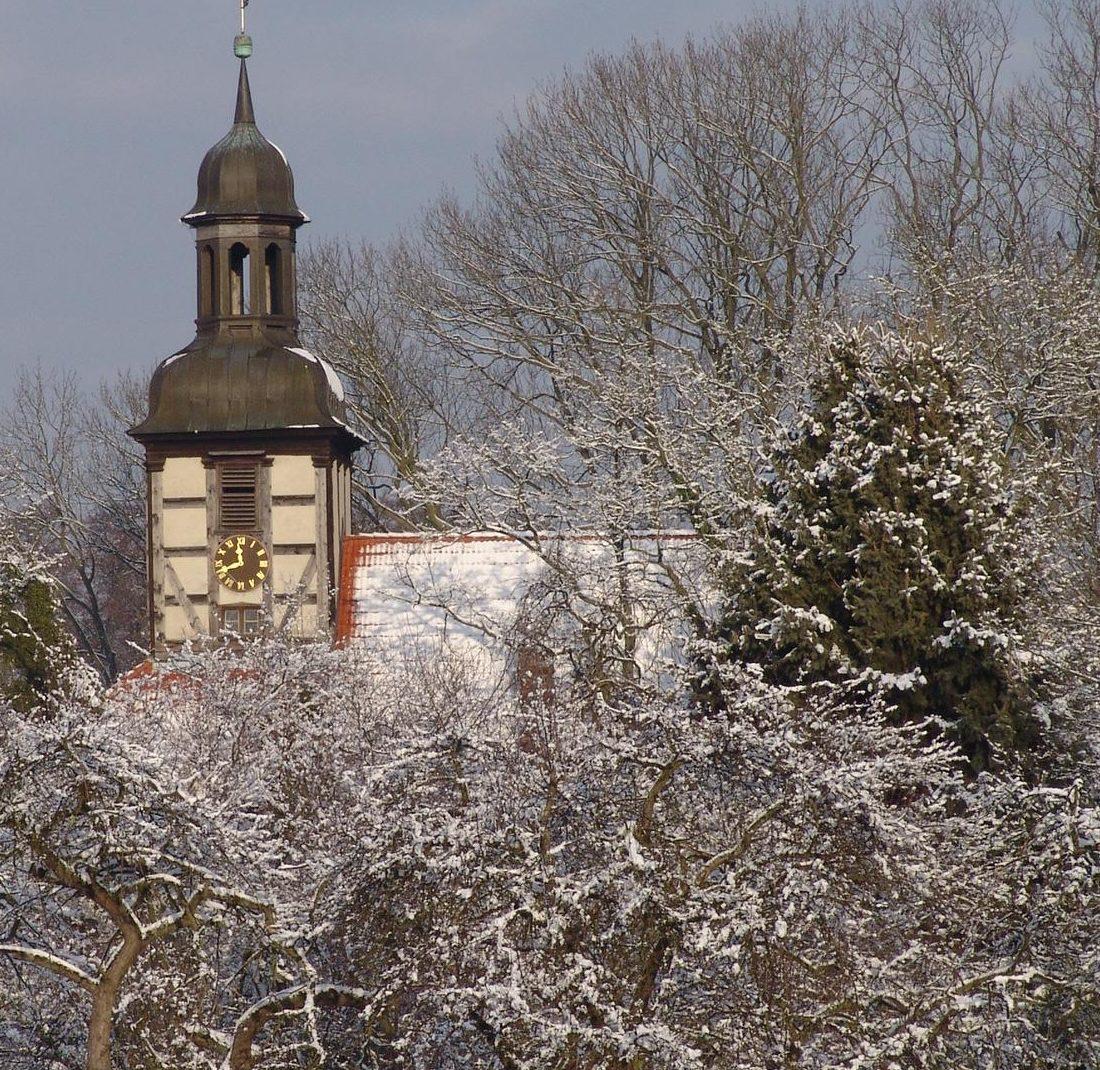 Riether Kirche Winter Pferde Vorpommern